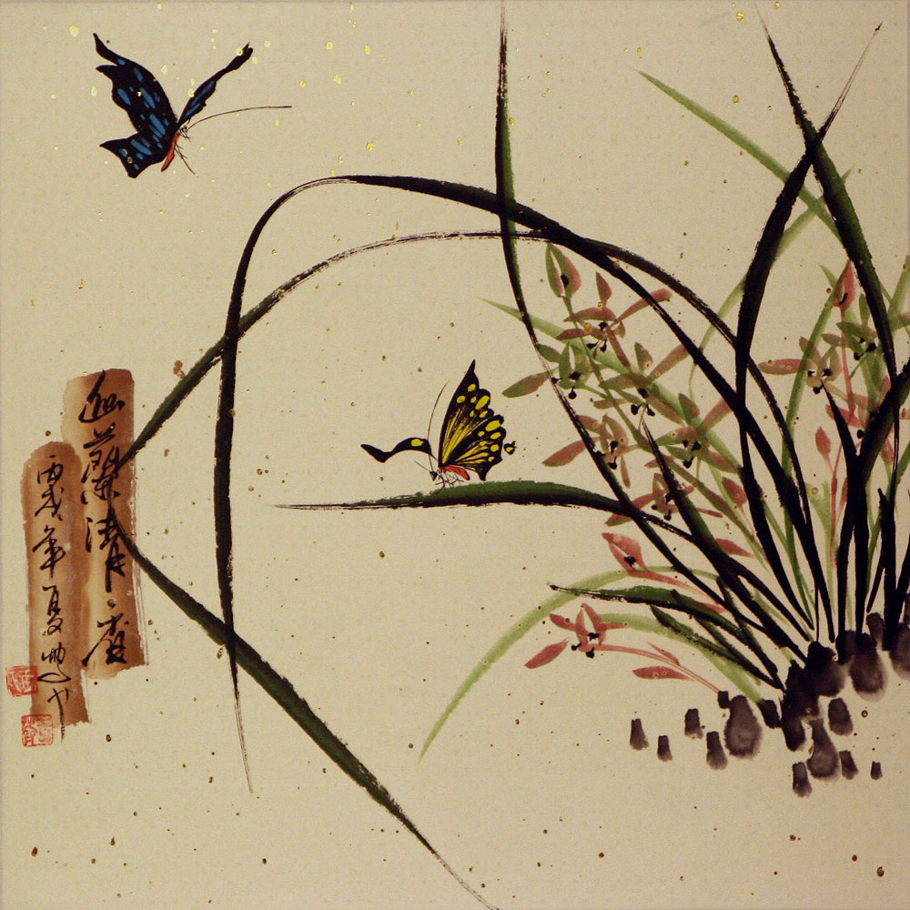 Orchids And Butterflies Painting Birds Amp Flowers Wall