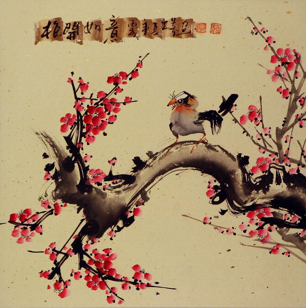 Plum Blossom and Bird Painting - Birds & Flowers Wall Scrolls ...