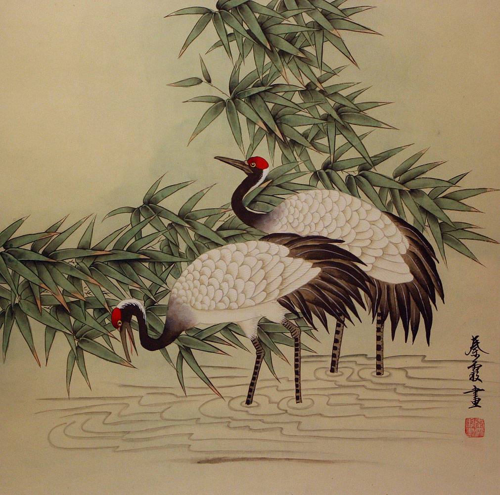 Cranes in Bamboo Painting