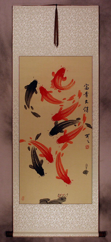 Classic Koi Fish Wall Scroll Asian Koi Fish Paintings