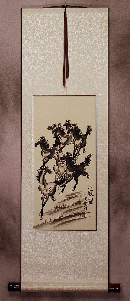 Classic Chinese Black Ink Horses Wall Scroll