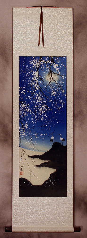 Blue Dreams Fantasy Cranes Wall Scroll