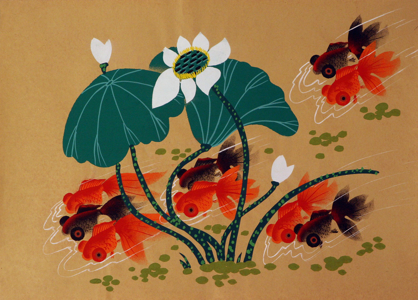 Lucky Gold Fish - Chinese Folk Art Painting