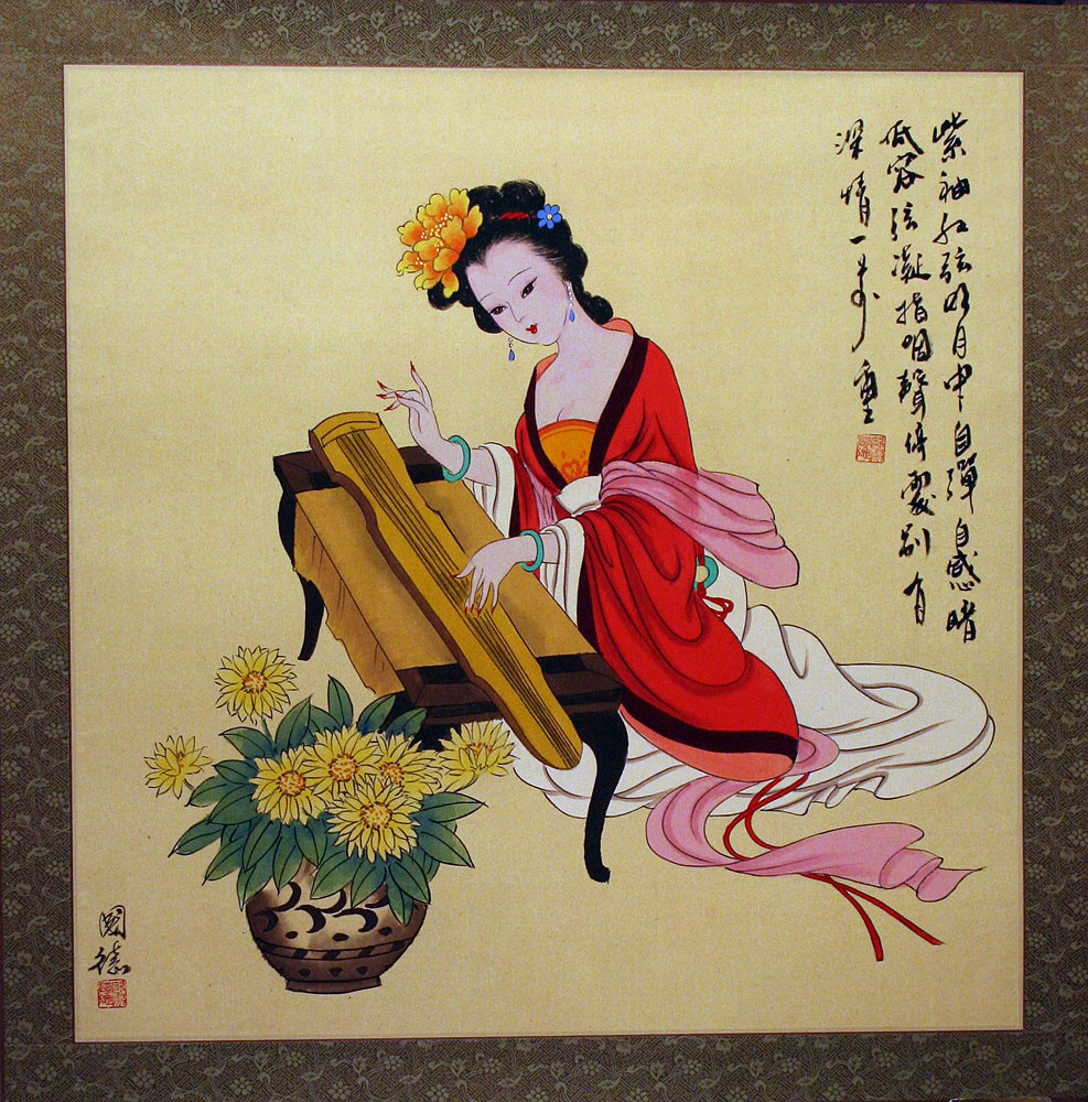 Antique-Style Chinese Woman and Zither Painting