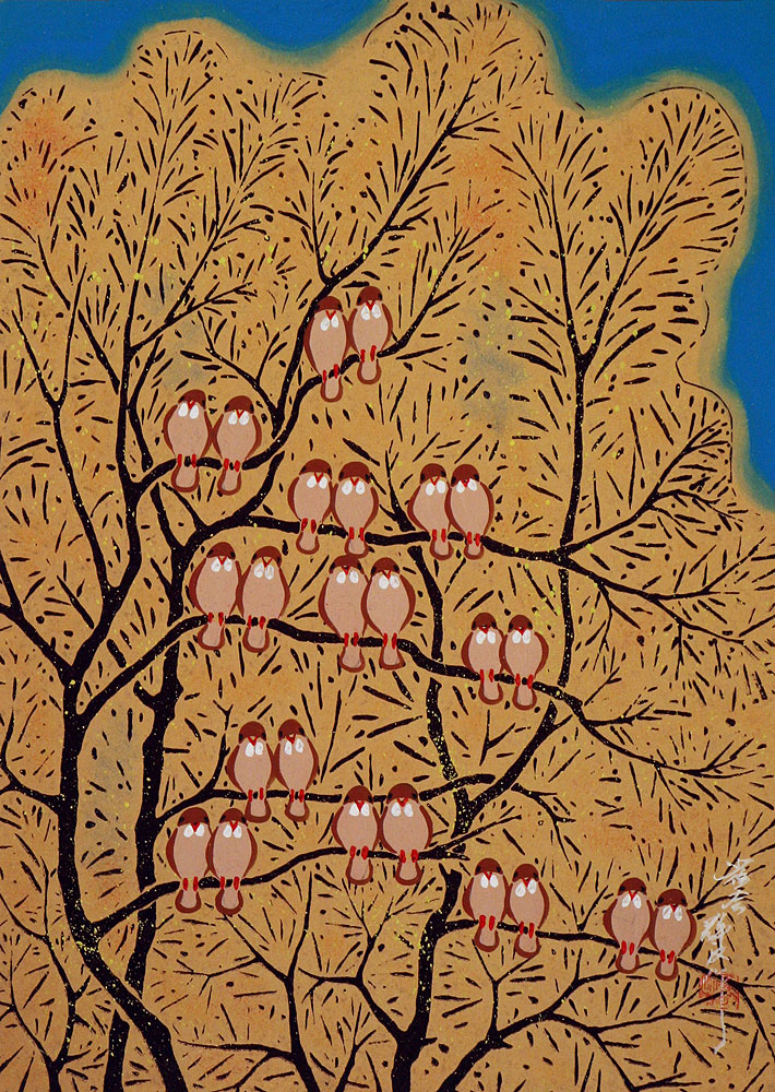 Gathering of Birds - Chinese Folk Art Painting