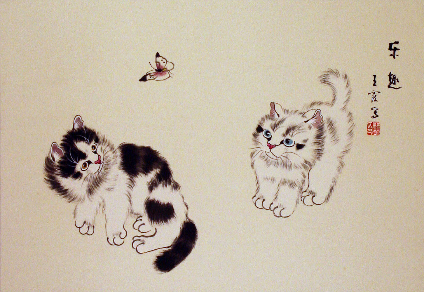 Two Kittens and Butterfly Painting Asian Artwork