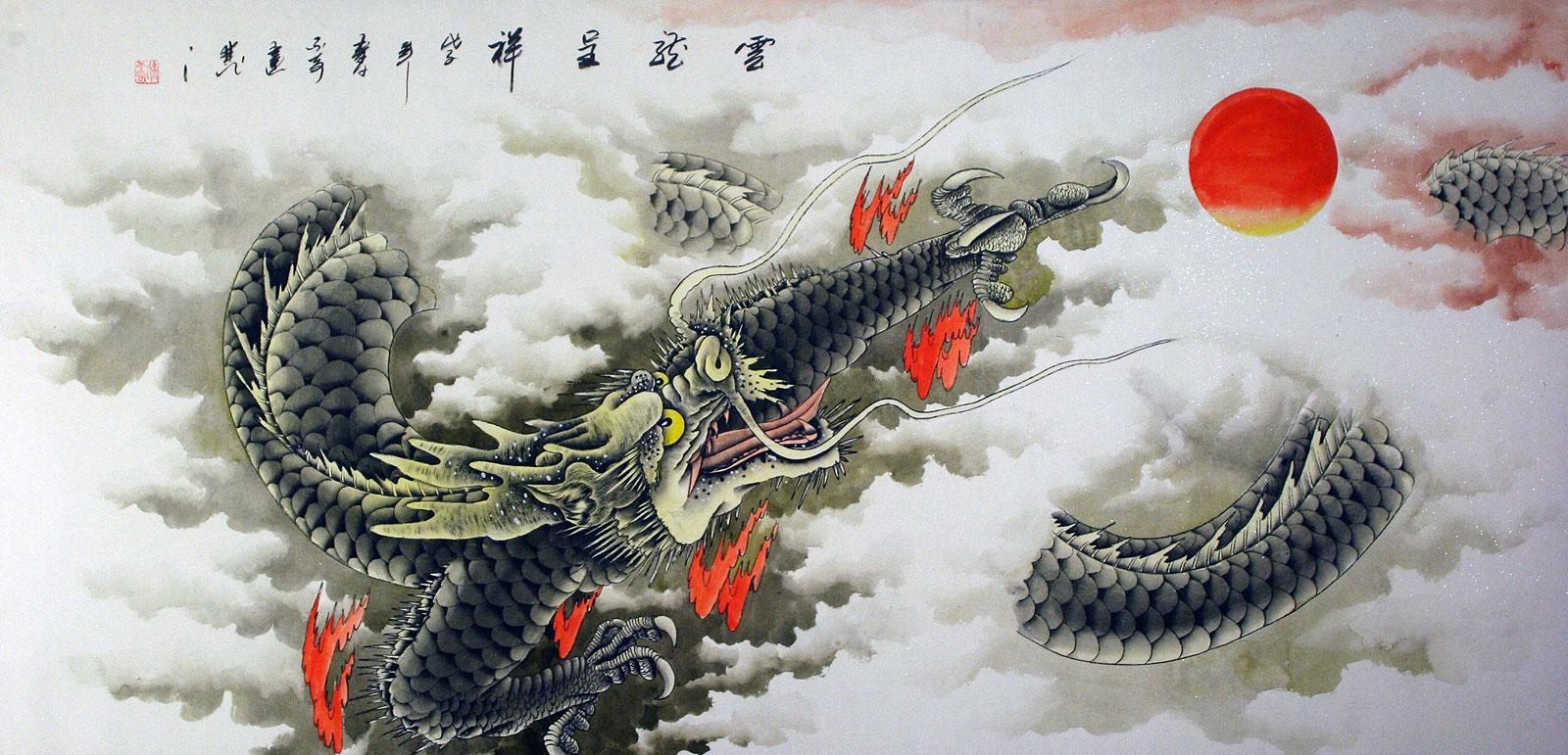huge dragon painting asian art bargain bin chinese artwork