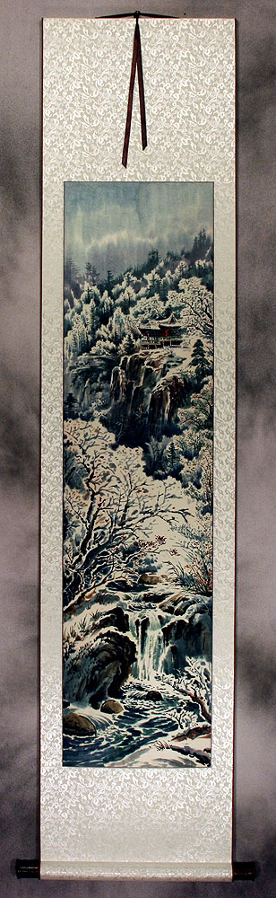 North Korean Landscape Wall Scroll