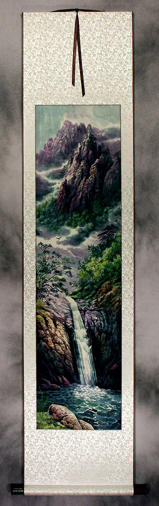 North Korean Waterfall Wall Scroll
