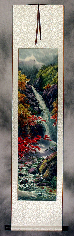 Waterfall of North Korea - Landscape Wall Scroll