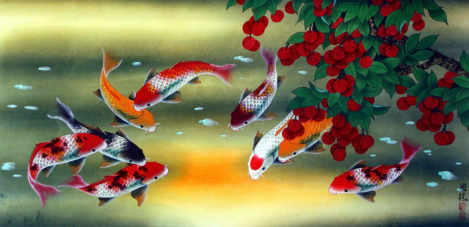 Huge Koi Fish and Lychee Painting - Asian Koi Fish Paintings & Wall ...