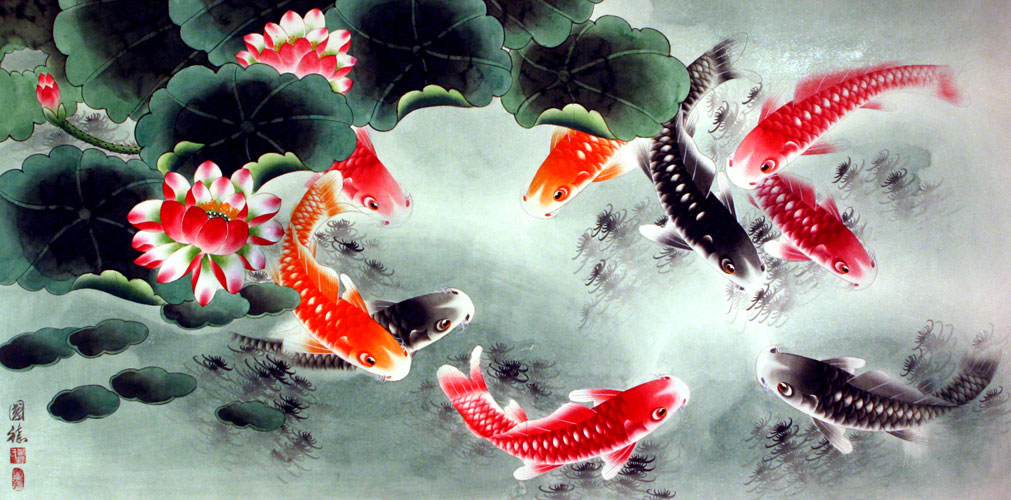 Koi Fish and Lotus Flower - Colorful Large Painting