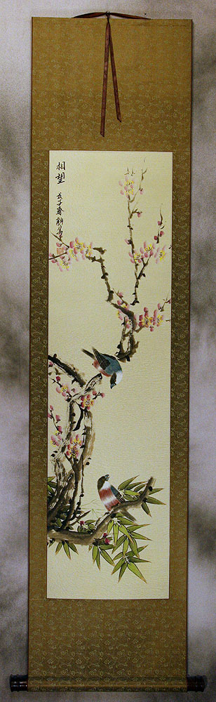 Thinking of the Future - Bird and Flower Wall Scroll