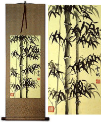 Chinese Black Ink Bamboo<br>Short Wall Scroll
