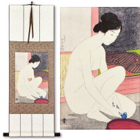 Nude Woman at the Bath<br>Japanese Woodblock Print Repro<br>WallScroll