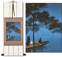 Shubi Pine Night Boat<br>Japanese Woodblock Print Repro<br>Wall Scroll