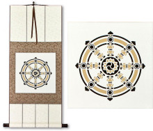 Buddhist Wheel Symbol Print<br>Silk Wall Scroll