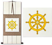 Wheel of Buddhism Symbol Print<br>Silk Wall Scroll