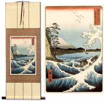Mount Fuji Waves Landscape<br>Asian Woodblock Print Repro<br>Wall Scroll