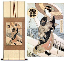 Beauty in the Snow<br>Japanese Woodblock Print Repro<br>WallScroll