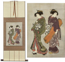 Geisha & Servant Carrying a Shamisen Box<br>Japanese Print Repro<br>Wall Scroll