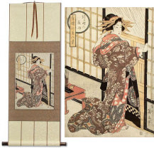 Geisha<br>Midnight Rain<br>Japanese Woodblock Print Repro<br>WallScroll