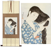 Woman in Blue Combing Hair<br>Japanese Woodblock Print Repro<br>WallScroll