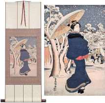Woman Strolling in Asakusa<br>Japanese Woodblock Print Repro<br>Wall Scroll