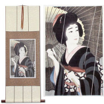 Rain<br>Woman & Parasol<br>Asian Woodblock Print Repro<br>Wall Scroll