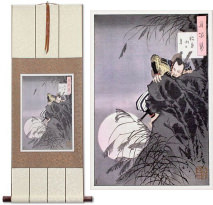 Samurai Hideyoshi Bravely Climbing<br>Japanese Print<br>Wall Scroll