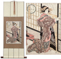 Geisha<br>Midnight Rain<br>Shoji Screen<br>Japanese Woodblock Print Repro<br>WallScroll