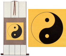 Orange Yin Yang Symbol<br>Silk Wall Scroll