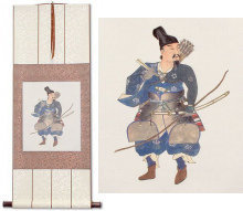 Asian Samurai Archer Warrior Wall Scroll