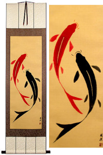 Yin Yang Koi Fish Wall Scroll