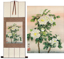Asian White Flower Wall Scroll