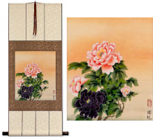 Classic Peony Flowers<br>Chinese Scroll