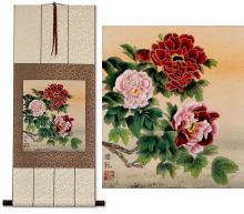 Elegant Peony Flowers<br>Chinese Scroll