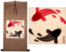 Yin Yang Koi Fish Silk Scroll