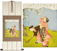 Young Women Beneath a Cherry Tree<br>Japanese Print Repro<br>Wall Scroll