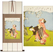 Young Women Beneath a Cherry Tree<br>Japanese Print Repro<br>WallScroll