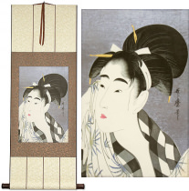 The Face of Oshun<br>Japanese Woman Woodblock Print Repro<br>Wall Scroll