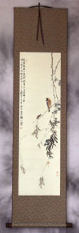 Bird on a Branch - Bird and Flower Wall Scroll