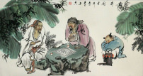 Big Men Playing Chess (Weiqi) Asian Art