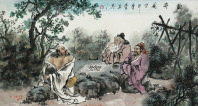 Old Men Playing Chinese Chess Painting
