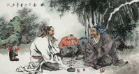 Big Men Playing Weiqi (Asian Chess) Asian Art