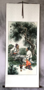Playing Chess - Wall Scroll
