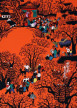 Play Time in Mountain Village<br>Chinese Peasant Folk Art Painting