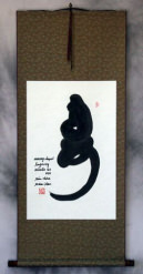 Longevity Monkey Chinese Symbol Wall Scroll