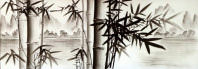 Charcoal Bamboo Landscape Asian Art