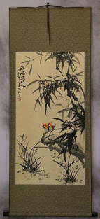 Chinese Black Ink Bamboo and Birds Wall Scroll
